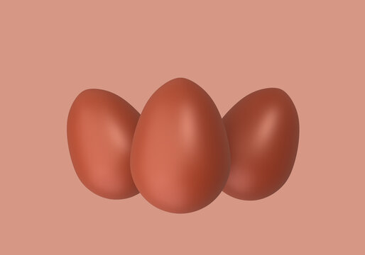 Three Chocolate Easter Eggs, sweet eastertime, 3d illustration