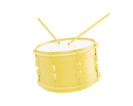 Yellow snare drum and drumsticks isolated on white background. 3d illustration