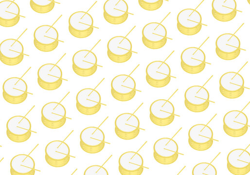 Yellow snare drums and drumsticks isolated on white background. Minimal drums pattern, 3d illustration