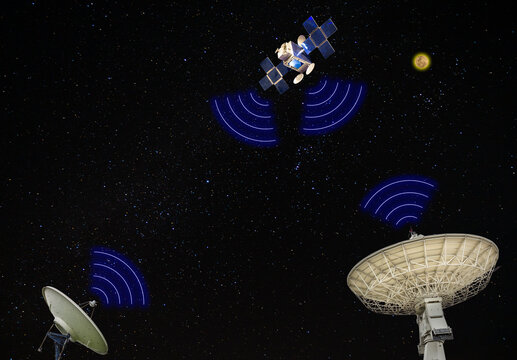 The satellite model in space communicating with satellite station on earth ground on galaxy background with many shining star (concept idea communication technology)