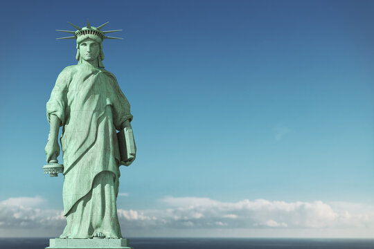 American depression, USA democracy problems concept. Sad and depressed Statue of Liberty with with a lowered torch.