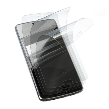 Smartphone screen protector glass or film cover. Transparent multi layered glass shield for mobile phone isolated on white.