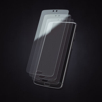 Smartphone screen protector glass or film cover. Transparent multi layered glass shield for mobile phone. 3d illustration