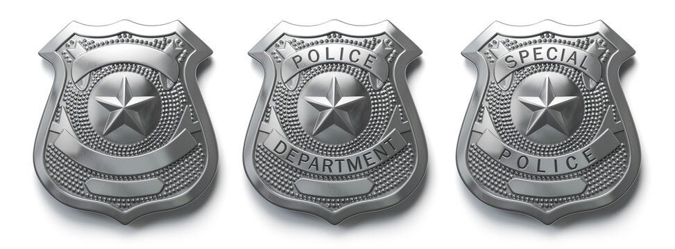 Police metal badge isolated on white Sign and symbol of police.