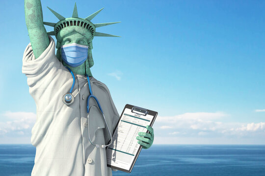 Healthcare system inUSA United States concept. Statue of Liberty as doctor in medical gown with  surgical mask, stethoscope and medical analysis.