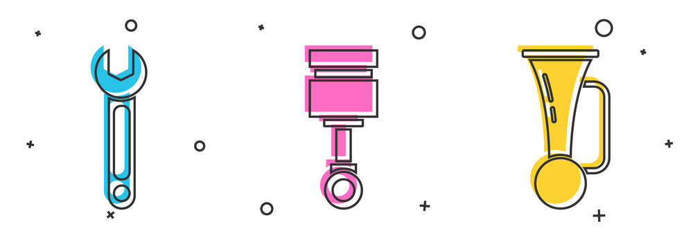 Set Wrench, Engine piston and Signal horn on vehicle icon. Vector.