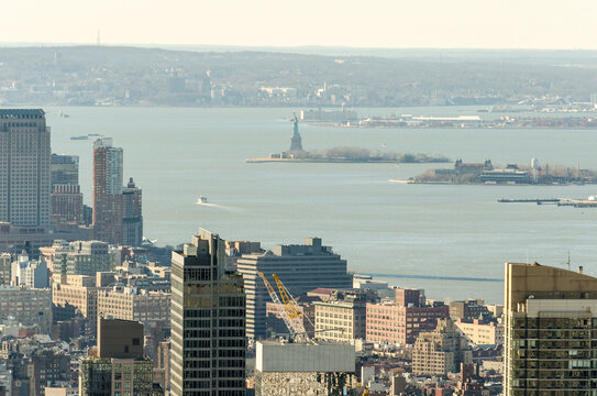 Panoramic and Aerial View Statue of Liberty, Ellis Island, Hudson River in Manhatta, New York, USA. New York City Skyline