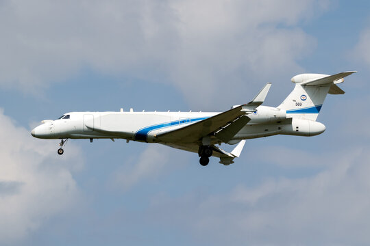 Israeli Air Force Gulfstream G550 Nachshon Eitam surveillance aircraft arriving at Norvenich Airbase. Germany - August 17, 2020