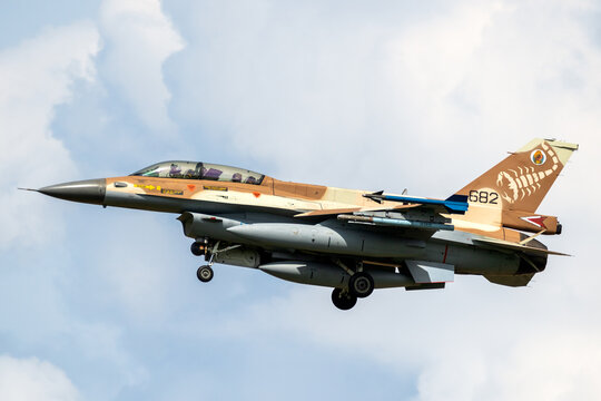 Israel Defense Force F-16 fighter jet landing on Norvenich airbase. Germany - August 17, 2020