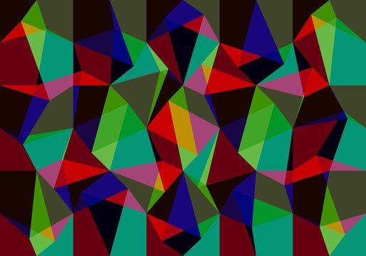 Composición de mosaicos en rojo, amarillo, verde, azul, fucsia, negro y caqui