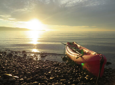 a kayak and a sunset on Lummi Island, Washington, USA, October