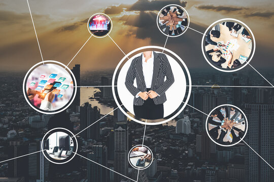 Business network web banner photo set in concept of management and growth by using corporate teamwork and people networking skills .
