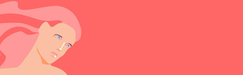 Bello rostro de mujer con cabello rosa y ojos azules sobre fondo rosa en arte digital con colores planos y forma alargada para encabezados con gran espacio para texto