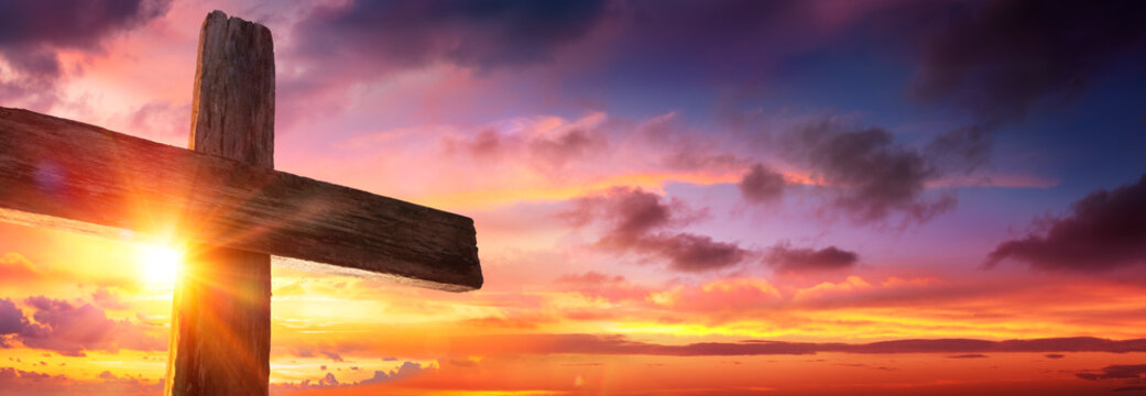 Crucifixion Of Jesus  - Wooden Cross As Sunset