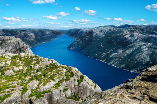 Lysefjord aerial panoramic view from the top of the Preikestolen cliff near Stavanger.