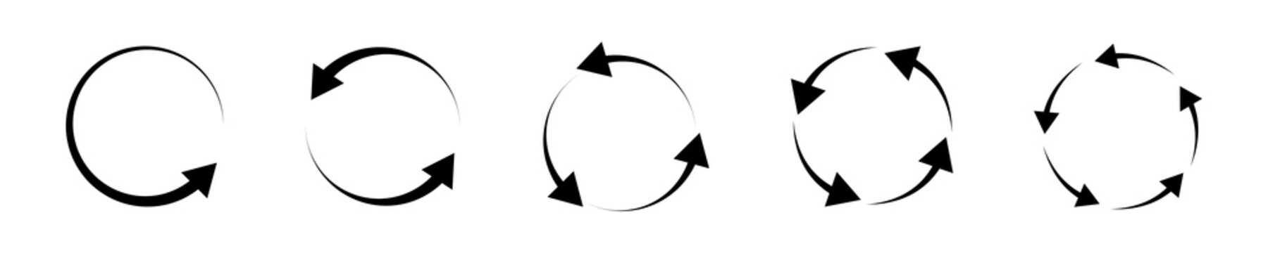 Recycle refresh rotate arrows icon set. Recycling arrow icon set. Rotation arrws set. Different arrows collection. Black arrows collection. Up arrow button symbol. Start-up. Vector graphic.