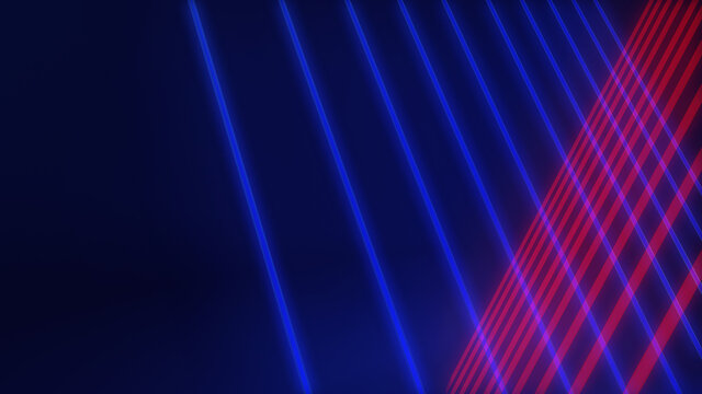 Abstract futuristic glowing background. 3D illustration with blue and red neon tubes