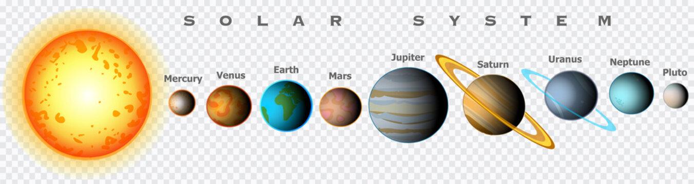 Solar system planets set. Transparency space background. Textures. Comparison sun. Size large, small. Mercury, Venus, Earth, world, Mars, Jupiter, Saturn, Uranus, Neptune, Pluto. Illustration vector