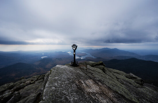 A coin-operated viewfinder overlooking Lake Placid, Adirondack mountains, Upstate New York, United States
