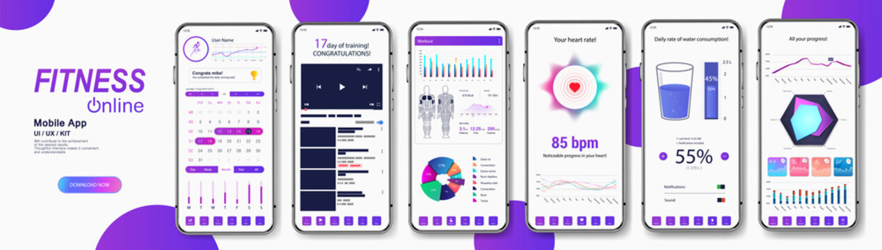 Fitness and medical App mockup for UI, UX, GUI. Smartphone screens with Fit application interface - healthy lifestyle concept (fitness, workout, drinking water with graphic and charts). Fitness UI app