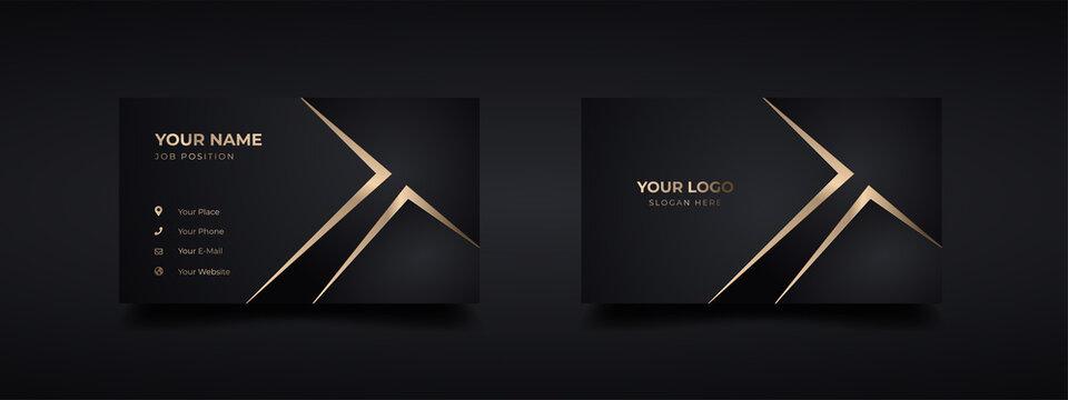 Luxury dark business card logo mockup with modern gold embossed and debossed effect. Vector elegant cards golden design template.