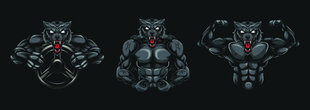 wolf gym ilustration, animal sports posters, sports brand logos. fitness logos