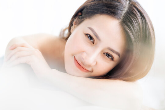 Asian woman going to beauty, skin care in spa