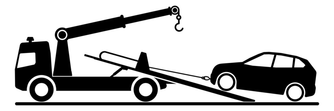 ngi1114 NewGraphicIcon ngi - german: Abschleppwagen transportiert Auto . english: tow truck with car . loading broken car on a tow truck . no parking . car crash accident - road assistance . g10295