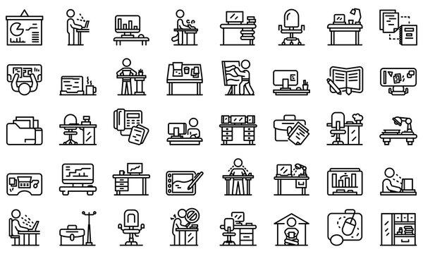 Ergonomic workplace icons set. Outline set of ergonomic workplace vector icons for web design isolated on white background