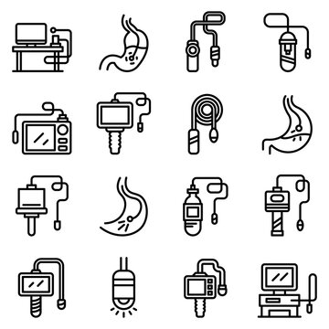 Endoscope icons set. Outline set of endoscope vector icons for web design isolated on white background