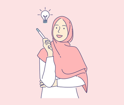 happy woman have ideas vector illustration concept, muslim girl holding pencil with light bulb hand drawn isolated, can use for, landing page, template, ui, web, homepage, poster, banner, flyer