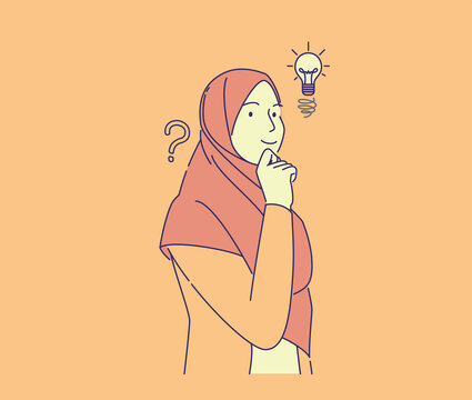 cute girl have idea hand drawn style . young pretty muslim woman smiling with finger on chin, vector illustration concept, can use for, landing page, template, ui, web, homepage, poster