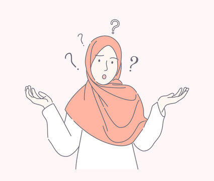 young muslim woman confused hand-drawn style, cute teen with scarf spreads hand with question mark isolated, can use for, landing page, template, poster, banner