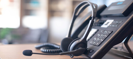 Fototapeta Communication support, call center and customer service help desk. VOIP headset for customer service support (call center) concept obraz