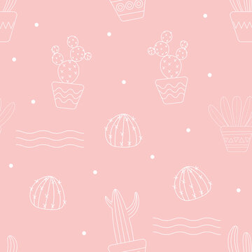 Seamless pattern with outline cactus