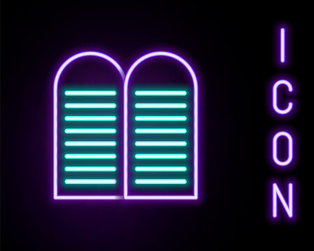 Glowing neon line The commandments icon isolated on black background. Gods law concept. Colorful outline concept. Vector.