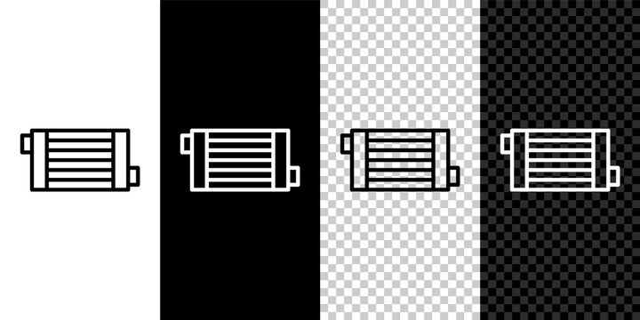 Set line Car radiator cooling system icon isolated on black and white,transparent background. Vector.