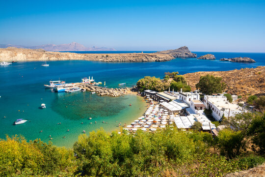 beautiful bay with beach in Lindos on Rhodes island in Greece
