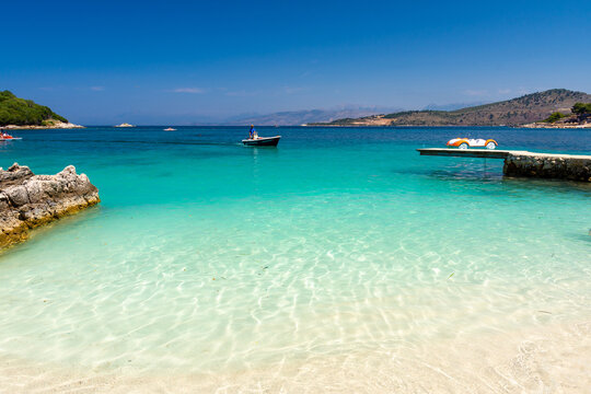 beautiful beach with crystal clear water in Ksamil in Albania