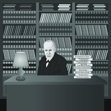 Portrait of Sigmund Freud in the library with his own books. Hand drawn illustration. Vector.
