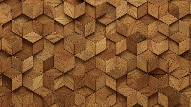 Wood Block Wall background. Mosaic Wallpaper with Light and Dark Timber Diamond tile pattern. 3D Render