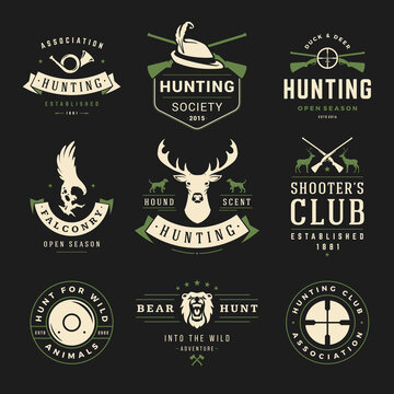 Set of hunting and fishing labels, badges, logos vector design elements vintage style.
