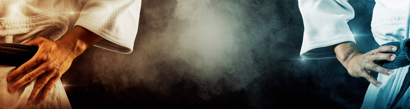 Martial arts masters on dark smoke background