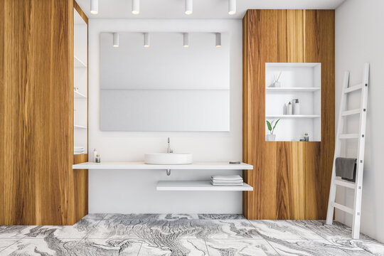 White and wooden bathroom with one sink and mirror near window