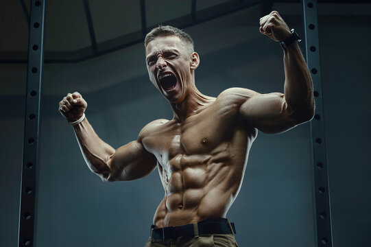Energy caucasian strong athlete screaming in gym