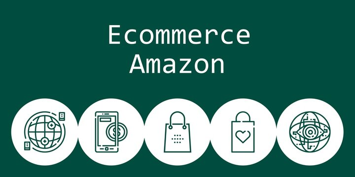 ecommerce amazon background concept with ecommerce amazon icons. Icons related shopping bag, internet, online payment