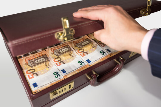 24-hour half-open briefcase full of euro banknotes