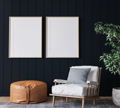 Mockup frame in dark living room interior background, farmhouse style, 3d render