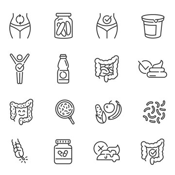 Probiotics, dietary supplements thin line icons set isolated on white. Prebiotics, healthy digestion.
