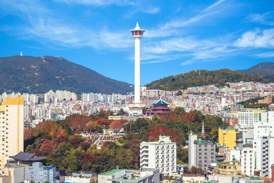 skyline of busan city with busan tower in south korea